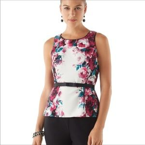WHBM Love Story Bodice Top White Pink Size 0